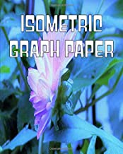 Isometric Graph Paper: Equilateral Triangle Horizontal Grid Paper Composition Notebook Featuring White and Purple Dahlia Profile on Blue Original Digital Oil Painting Cover Artwork