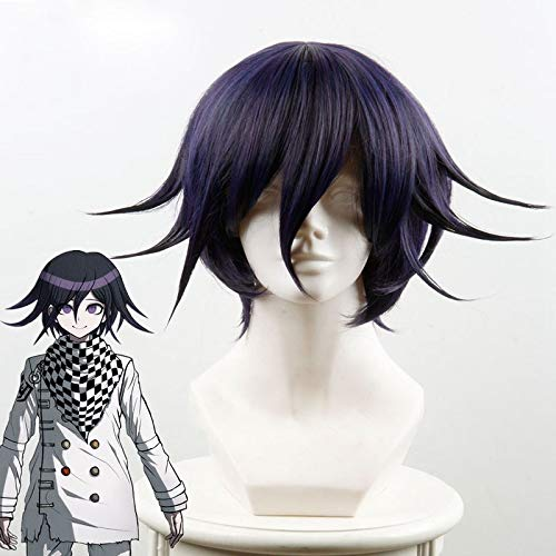 Danganronpa V3: Killing Harmony Ouma Kokichi Cosplay Peluca para Hombre Niños Corto Recto Anime Peluca Fiesta de Navidad Regalo Azul Negro