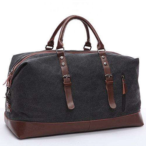 Limirror Borsa da viaggio in tela, stile vintage, borsa sportiva, per uomo e donna con grande capacità Nero Nero  (56L) EU