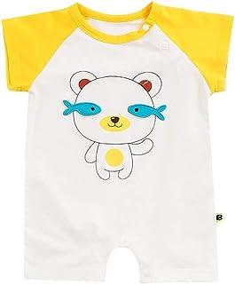 ALLAIBB Kids Summer Playwear Short Sleeve Summer Onesie Cute Cartoon Bear Style Cotton Romper One Piece Bodysuit Fashion Loose Babys Romper Pajamas (0-3T)
