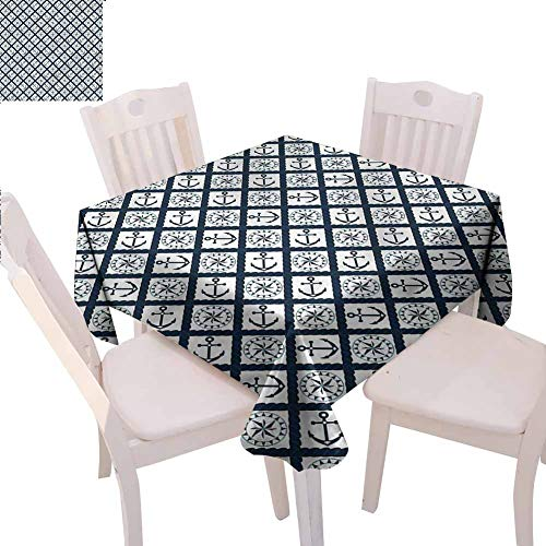 Zara Henry Navy Dust-Proof Tablecloth Anchor Windrose Icons Household Tablecloth W50 xL50