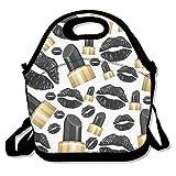 Cool negro Pintalabios Labios almuerzo Tote Bag bolsas Awesome almuerzo caja fiambrera de bolso para la escuela trabajo al aire libre