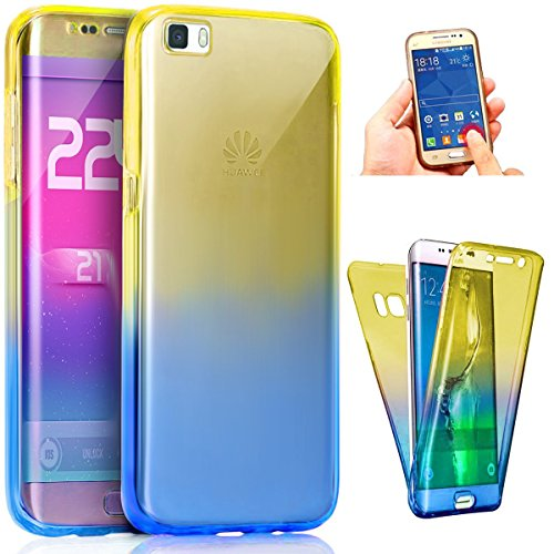 Huawei P9Lite caso, ikasus [360de cuerpo entero cobertura protección] gradiente color ultra delgada resistente a arañazos Front + Back completa cobertura suave transparente TPU carcasa de goma de si