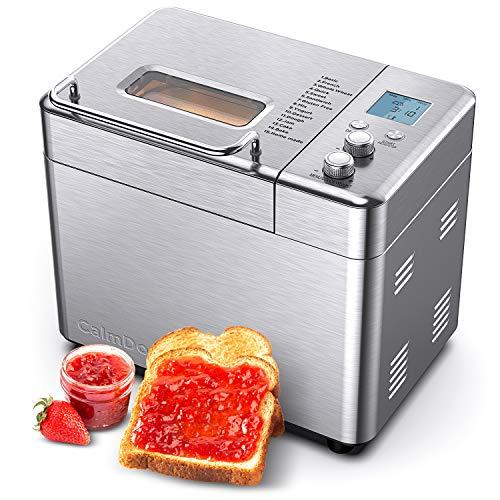 CalmDo Panificadora Completamente Automática y Preestablecida, Máquina de Pan de Acero Inoxidable, la Configuración Menú 15 en 1, 3 Tamaños de Pan y 3 Colores de Corteza (Claro /Medio / Oscuro)