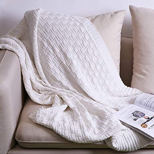 Oroot Wolldecke aus 100 % Baumwolle, gestrickt, 130 x 180 cm, weich, komfortabel, leicht, maschinenwaschbar, geeignet für Büro, Sofa, Stuhl weiß
