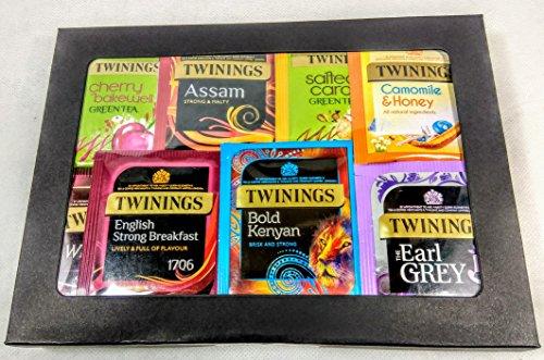 Twinings Tea - Caja de cartulina negra de lujo para té de fruta, verde y negro. 20 sabores, 50 bolsas de té envueltas. Regalo perfecto para té, caja de té de variedad