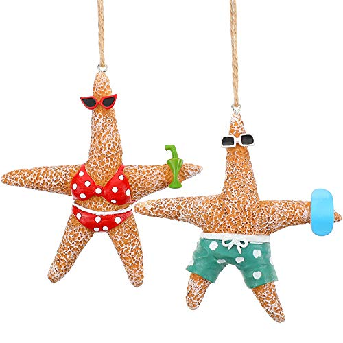 2 Pieces Beach Theme Christmas Ornaments Christmas Tree Starfish Decorations Resin Starfish Decorations Starfish Couple Ornaments with Swimsuits for Xmas Decor Beach Theme Wedding Decorations