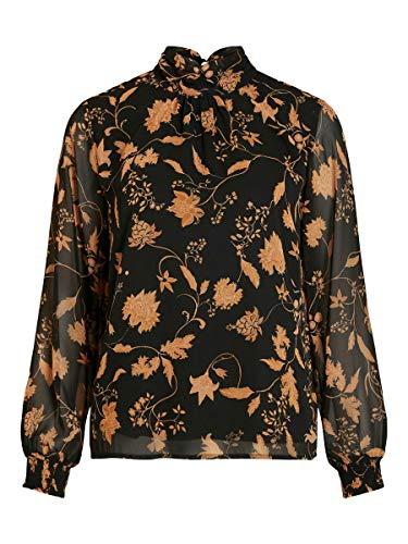 Vila Damen VIREMI L/S TOP/SU Tunika-Shirt, Black/AOP:W. CHINTA Print, 34