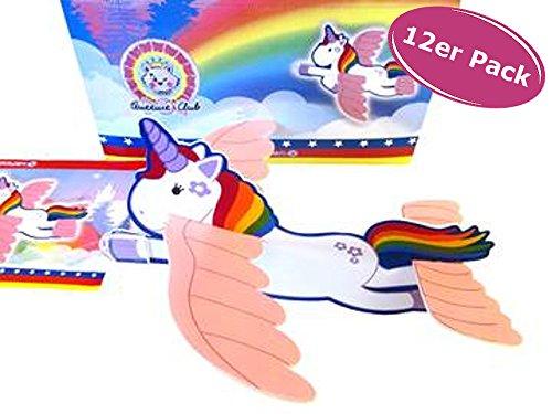 Fliegendes Einhorn 12er Set - Styroporflieger, Unicorn Luna, Give Away Kindergeburtstag