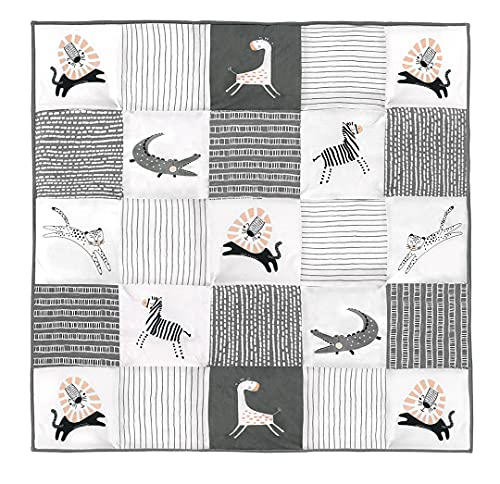 Cambria Baby Organic Cotton Baby Quilt. Thick Comforter Blanket with Thermal Polyester Batting. Neutral Patterns for Boys and Girls. Machine Washable. (40' x 40', Safari Animals)