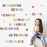 Opopark Inspirational Quote Wall Decal Colorful Motivational Lettering Wall Stickers Be Brave Be Creative Be Kind Positive Quote Saying Stickers for Classroom Children Study Room Bedroom Window Door
