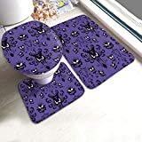 Halloween Haunted Ghost Mansion 3-Piece Bath Rug and Mat Sets, Ghosts Non-Slip Bathroom Doormat, Toilet Seat Cover, U-Shaped Toilet Floor Mat