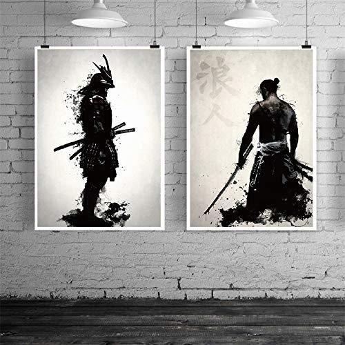 mmzki Samurai japonés Lienzo Pintura al óleo Moderna Pared Arte Cuadros Lienzo impresión para Sala de Estar HD decoración del hogar Carteles e Impresiones 2pcs x100cm