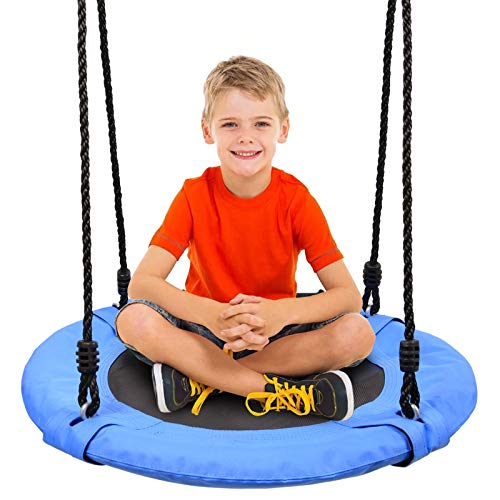 Odoland 24 inch Children Tree Swing SwingSeat, Outdoor Saucer Rope Swing Platform Swing for Kid, Round Swingset wirh Adjustable Hanging Ropes for Indoor, Backyard and Playground Blue