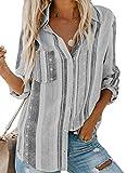 FIYOTE Damen Freizeit V-Ausschnitt Manschetten-Ärmel Locker Punkte Taschen Shirt Bluse