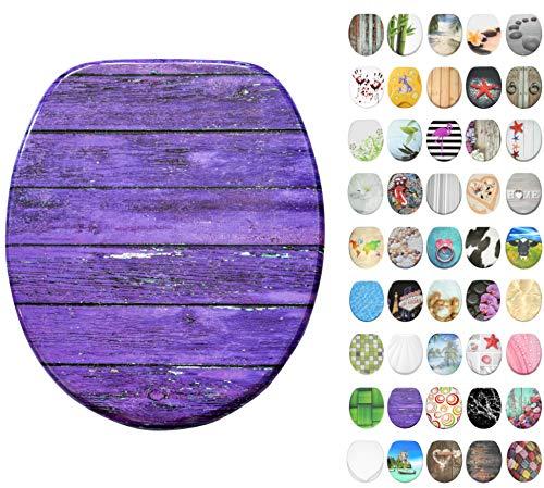 WC Sitz mit Absenkautomatik, große Auswahl, schöne Motive, hochwertige und stabile Qualität aus Holz (Purple Wall)