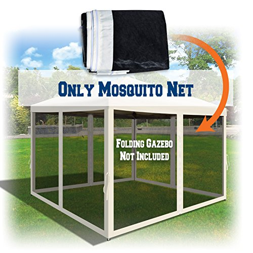 BenefitUSA Canopies 10' L X 6.4' W Mesh Wall Sidewalls for Pop Up Canopy Screen Room, Pack of 4 (Walls Only) (Ecru)