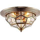 LEDlámpara de techo Medieval nórdica antigua de latón de latón estilo linterna lámpara de techo luz de techo con con vidrio congelado lámpara colgante forma de diamante pulido for entrada de la sala d
