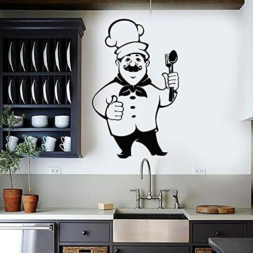 mgrlhm Hermoso Chef Etiqueta de la Pared Cocina Restaurante menú Comida Sombrero vajilla Estilo de Dibujos Animados Vinilo Impermeable Etiqueta de la Pared decoración de la Cocina 66x42cm