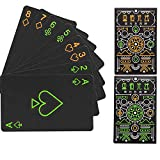 bigbigfamily Poker Cards - Cool Black Playing Cards,Luminous Playing Cards Glow in The Dark for Magic,Water Card Games and Party(1 Set)