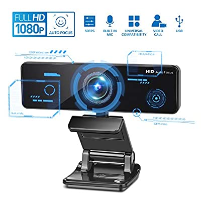 Webcam with Microphone, 1080p 30fps Built-in Mic Streaming HD Auto Focus Camera USB Universal Webcams for Skype/Desktop/PC/Conference, Flexible Rotary Clip, Widescreen Video Calling and Recording