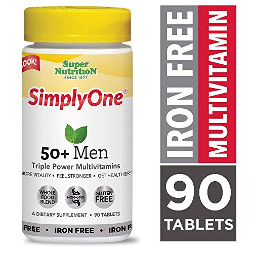 SuperNutrition, SimplyOne Multi-Vitamin for Men 50+, Iron-Free, High-Potency, One/Day Tablets, 90 Day Supply