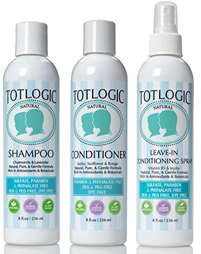 TotLogic Kids Complete Hair Care Set - Shampoo, Conditioner, Detangling Spray - Gentle, Safe, Made with Natural Essential Oils and Botanicals