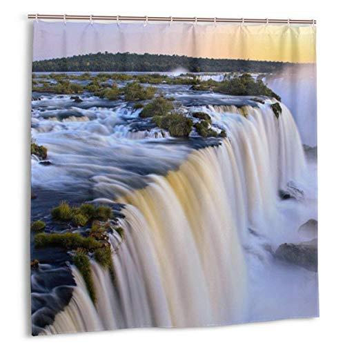 naizi Naturaleza Argentina Brasil Cascadas Iguazu Falls Cortina de Ducha Impresión Impermeable Cortina de baño 60 X 72 Pulgadas
