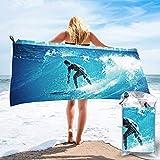 Toalla de Playa para Surf 27.5 'X 55',Hamburguesa Arena Ultra Suave Microfibra Portátil Absorbente de Agua Microfibra múltiple Toalla de Playa sin Arena Manta