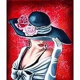 DIY Diamond Painting Kit Rosa, sexy, dama Cuadros Diamantes 5d para Adultos Niños Grande Bordado punto de cruz Cristal Rhinestone Lienzo Art Craft Decor de la pared del hogar(50x60cm/20x24in)