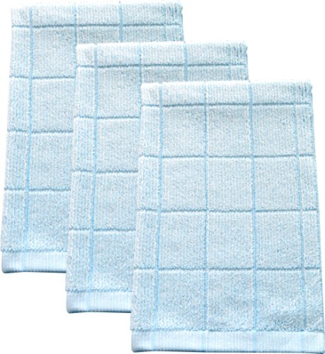 Fabresh Kitchen Towels - Ultra Absorbent, Quick-Drying Bamboo and Microfiber Blend Hand Towels with Reinforced Edging - 26in x 16in, Sky Blue, (Set of 3)