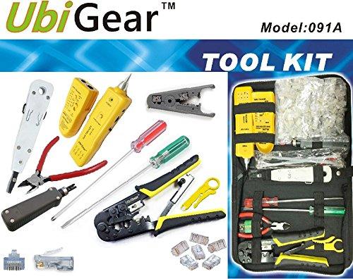 UbiGear Network/Phone Cable Finder/Toner/Probe/Tracer/Tester + RJ11/RJ12/RJ45 Crimp Crimper + 100 Pcs RJ45 CAT5e Connector Plug Network Tool Kits (PremiumTester)