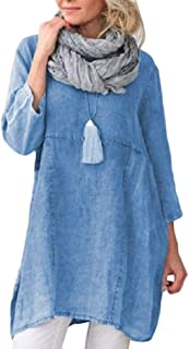MogogoWomen Denim Washed Long Sleeve Skinny Mid-Long Tshirt Dress