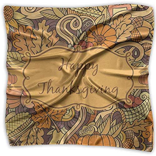 Uridy Pañuelo cuadrado para mujer, cuello, muñequera, tela de mantel individual de acción de gracias personalizada