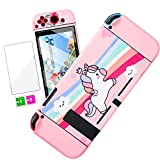 Darrnew Pink Unicorn Skin per Nintendo Switch Cartoon Cute Fun Skins, Kawaii Unique Kids Men Boys Switch Game Sticker, divertente design alla con e pellicola in vetro temperato per Nintendo Switch