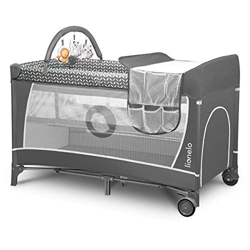 Lionelo Flower Travel Cot Baby Playpen Baby with Side Entrance Changing Table Grey