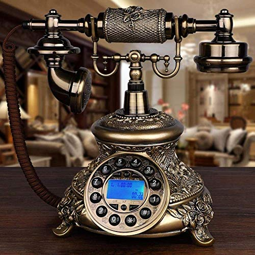 qwertyuio Nostálgico Teléfono Vintage Retro Clásico Teléfono con Cable Línea Fija Retro Botón De Teléfono Cable De Tela Hogar Vintage Teléfono con Flash Remarcación Y Reserva Teléfono Multif