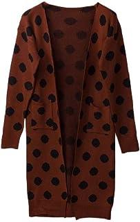 Women Long Sleeve Contrast Color Pocket Polka Dots Baggy Cardigan Sweater