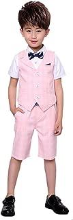 Uwback Boys Summer Plaid Suit 2 Pieces Vest and Pants