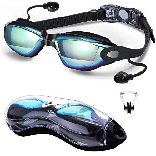 Lunettes de natation, lunettes de natation en miroir sans fuite, protection anti-buée UV vision à 180 degrés avec étui de protection gratuit et pont en silicone souple pour hommes adultes femmes jeune