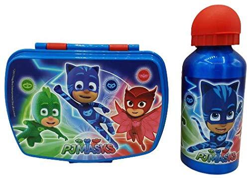 CM Set Botella de Agua de Aluminio Infantil y Fiambrera para Colocar los almuerzos - para niñas, cantimplora a Prueba de Fugas sin BPA 400ml (Azul-Ant)