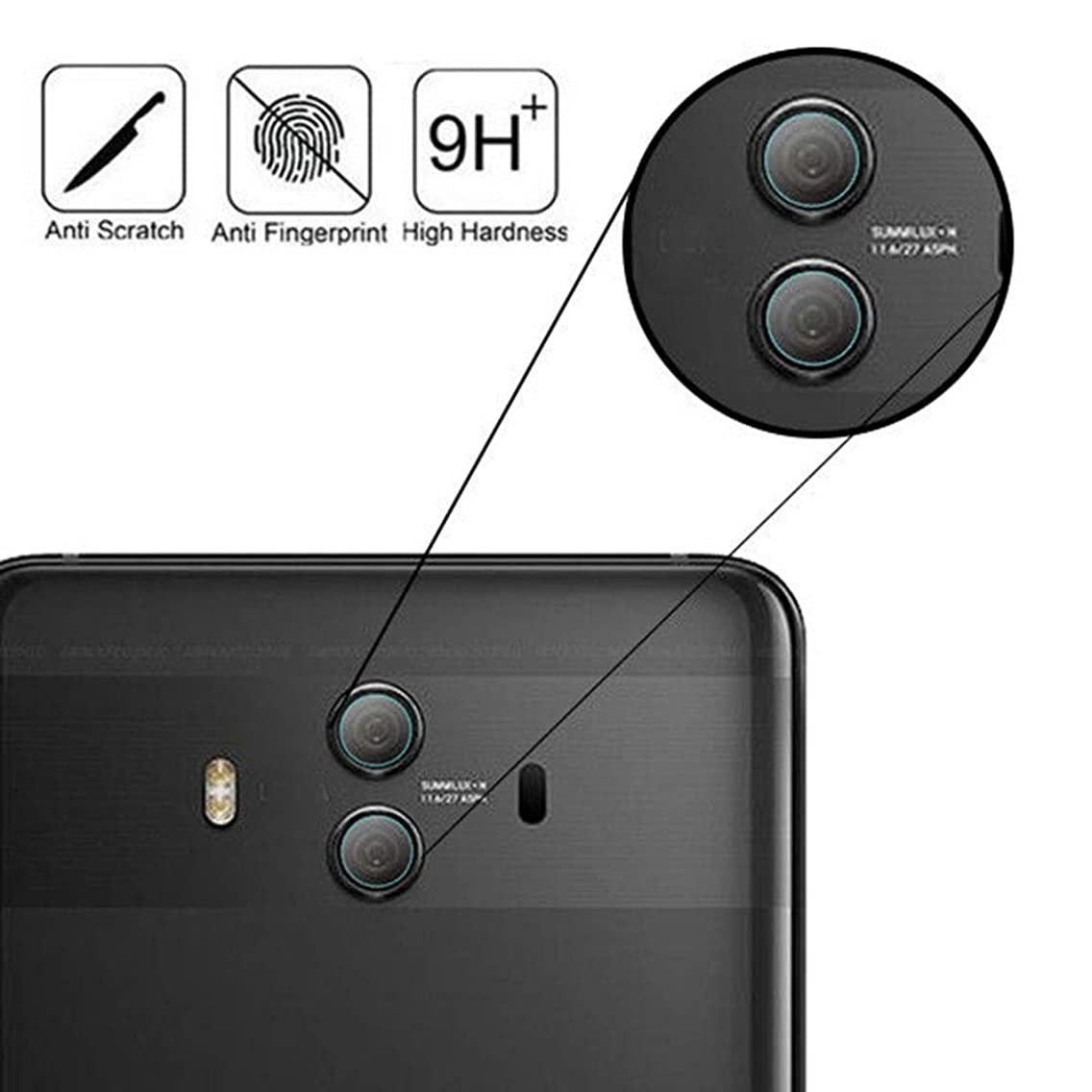 for Huawei Mate 10 Pro Tempered Glass Camera Lens Film – [2 Pack] for Huawei Mate 10 Pro 2.5D Tempered Glass Back Camera Lens Protector High Clear Protective Film