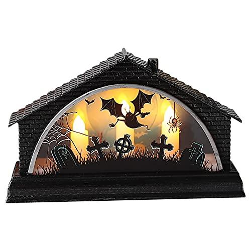 Lanterne portatili di Halloween, decorazione creativa della luce di simulazione retrò LED Luminosa Casa Tre Luci di Candela Decorazione di vacanza,