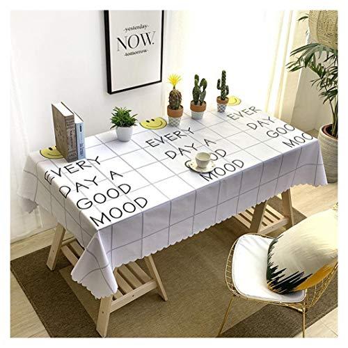 GUOCU PVC Tischdecke Fleckschutz Wasserdicht Staubdichte Hauptdekoration Tischtuch Rechteckige Tischdecke für Esszimmer Party Bankett Küche Lächeln 135 * 135