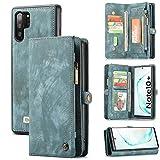 Zttopo Galaxy Note 10 Plus /10+ Wallet Case, 2 in 1 Premium Leather Zipper Detachable Magnetic 11 Card Slots Folding Flip Money Pocket Clutch for Note 10/10plus (Brown, Galaxy Note 10 Plus)