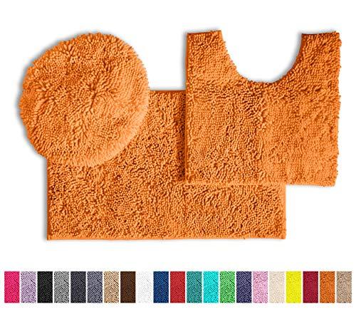 LuxUrux Bathroom Rugs 3pc Non-Slip Shaggy Chenille Bathroom Mat Set, Includes U-Shaped Contour Toilet Mat, 20 x 30'' and 18 x 20'' Lid Cover Bath Mat, Machine Washable (3 Pc Set - Style B, Orange)