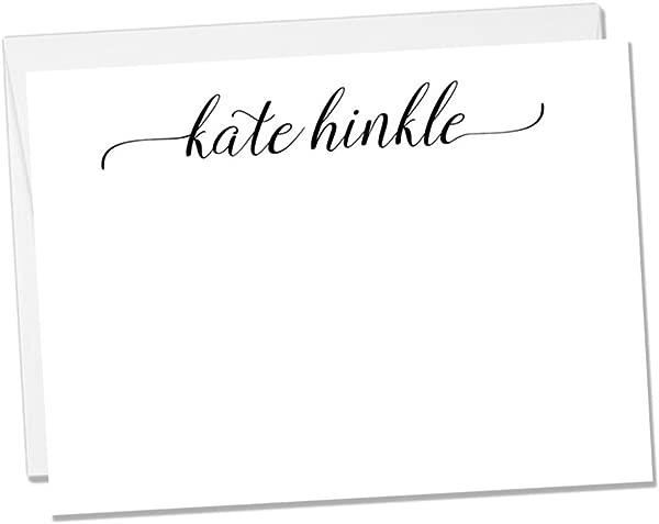 Personalized Flat Notecard Set Set Of 10 Fancy Name Notecards Flat Notecard 1