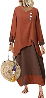 UUYUK Women Casual V-Neck Cotton Linen Color Block Long Sleeve Long Maxi Dress