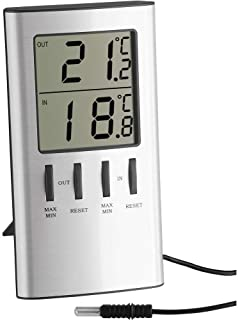 TFA 30.1027 Digital Indoor/Outdoor Thermometer with Maximum and Minimum Function - Silver Metallic