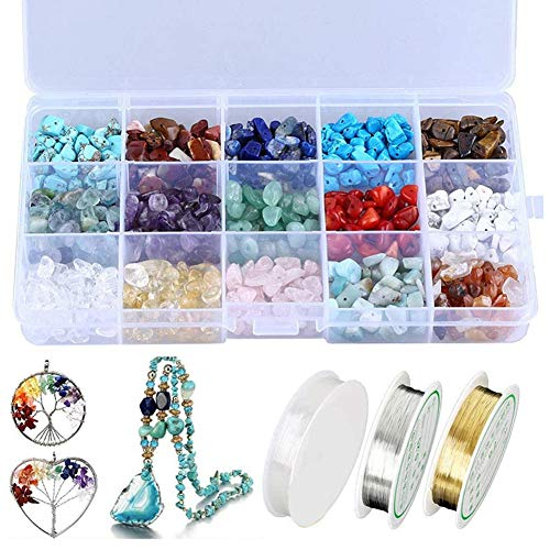 Fauge Natural Crystal Chips Irregular Stone Beads Kit with Metal Beading Wire and Elastic String for Jewelry Making Crafts